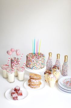 Sprinkles kid's birthday party idea #cake #cakepops #straws