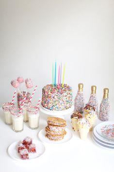 Sprinkles kid's birthday party idea #cake #cakepops #straws