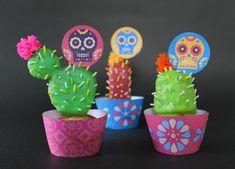 Calavera cupcake toppers on cactus cupcakes