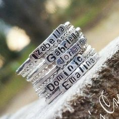 Sterling Silver Stackable Name Rings Stackable Mothers Rings Push Present Stackable Rings Customized Rings Name Rings Stackable by ChandysCreations Stackable Name Rings, Multiple Rings, Resize Ring, Spoon Jewelry, Jewlery, Jewelry Box, Mother Rings, Christian Jewelry, One Ring
