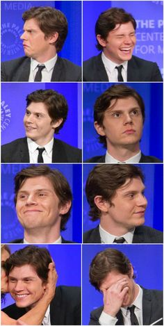 The many lovable faces and expressions of Evan Peters. AHS at Paleyfest. Evan Peters, Ahs, Beautiful Boys, Pretty Boys, Tate And Violet, Peter Maximoff, Raining Men, American Horror, Horror Stories