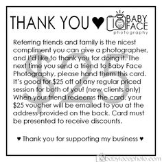 Client Referral Program » Baby Face Photography Blog