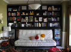 Thinking I may do a combo idea like this in the bonus room.. Have the main wall be a combo sofa/library wall.