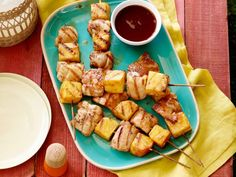Recipe of the Day: Tyler Florence's Chicken and Pineapple Skewers Basted with homemade barbecue sauce on the grill, Tyler's easy skewers of fresh fruit and juicy chicken are ready to be devoured once they're nice and caramelized.