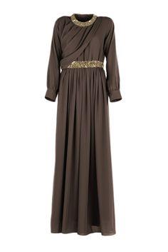 Dark Brown Overlap Drape Dress