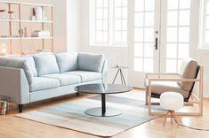 Woods, creamy white, and glass create a relaxing and organic feeling living room. Ikea Living Room, Small Living Rooms, Home And Living, Living Spaces, Ikea Decor, Room Decor, Ikea Lounge, Small Appartment, Ikea Home