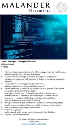 Hiring: SM Converged Solutions  For more information, please visit our website at www.malanderplacements.co.za  #seniormanager #convergedsolutions #telecoms #telecommunications #newopportunity #applynow #success #informationtechnology #jobs #jobsavailable #malanderplacements 4 Year Degree, Electronic Engineering, Pre And Post, Job S, New Opportunities, Find A Job, Information Technology, Knowledge, Management