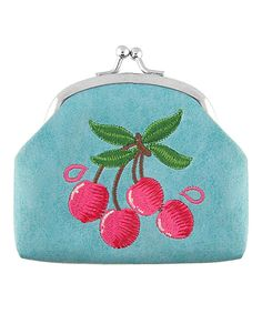 LAVISHY Baby Blue Cherry Embroidered Coin Purse