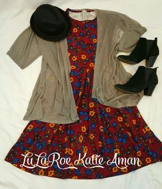LuLaRoe Katie Aman / LuLaRoe style inspiration/ Fall / Fall Style Inspiration / Fall Fashion / Boots / Booties / Jean Jacket / Lindsay kimono / Amelia dress