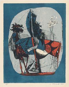 Vincent Hložník - 22 - List z cyklu Veselý zvierací svet Collage Illustration, Printmaking, Gallery, Painting, Art, Art Background, Roof Rack, Painting Art, Kunst