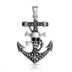 Bling Jewelry Nautical Pirate Skull and Crossbones Anchor Pendant Stainless Steel