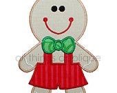 Gingerbread Boy Applique - Christmas Applique Design - 3 Sizes - INSTANT DOWNLOAD