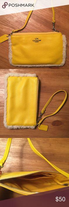 Spotted while shopping on Poshmark: Coach Shearling Pebbled Leather Wristlet! #poshmark #fashion #shopping #style #Coach #Handbags