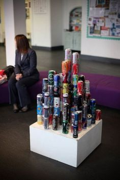 Artist- Unknown Medium- Sculpture / Photography Meaning of the artwork- Collecting old an used cans to form a litter project