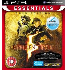 Capcom Resident Evil 5 Gold Essentials - PS3 Game This critically acclaimed chapter of the Resident Evil franchise returns with more content than ever before in Resident Evil 5: Gold Edition. Included is the original best selling game and all downloa http://www.comparestoreprices.co.uk/playstation-games/capcom-resident-evil-5-gold-essentials--ps3-game.asp
