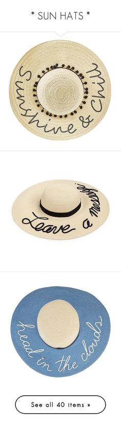 """""""* SUN HATS *"""" by hrfost1210 ❤ liked on Polyvore featuring accessories, hats, natural, floppy beach hat, floppy hat, floppy straw hat, wide hat, pompom hat, ivory and white winter hat"""