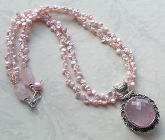 freshwater keishi pearls & rose quartz