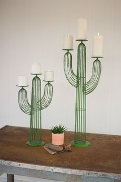 """Why We Love It Wire Cactus Candle Holders, Set of 2 More Information Dimensions: Small - 12""""L x 5""""W x 20""""H, Large - 12""""L x 6""""W x 30""""H"""