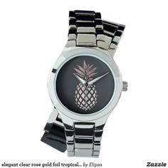 elegant clear rose gold foil tropical pineapple watches