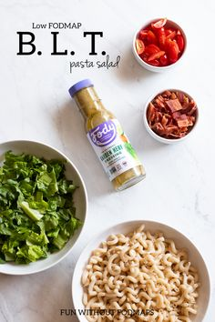 This Low FODMAP BLT Pasta Salad combines whole grain pasta, crunchy lettuce, sweet cherry tomatoes, crumbled bacon, and Fody Foods dressing. Low Calorie Dinners, Low Calorie Recipes, Spicy Recipes, Healthy Recipes, Potato Recipes, Vegetarian Recipes, Healthy Food, Low Fodmap Fruits, Fast Dinner Recipes