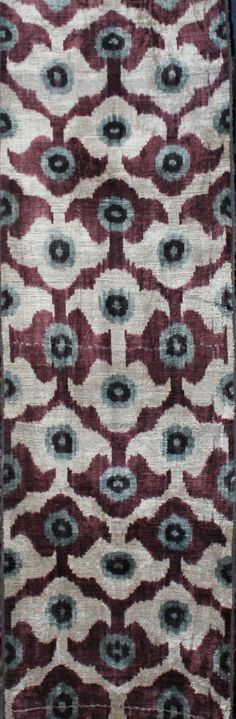 These are warp-faced plain weave silk warp, cotton weft ikats. Ikat is a style of weaving that uses a tie-dye process on the warp threads before the