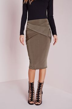 Missguided - Wrap Front Detail Midi Skirt Brown