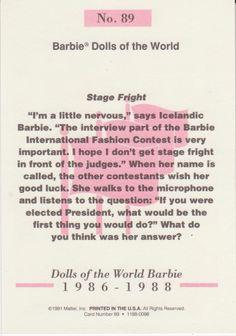 1991 Mattel Barbie Trading Card 89 1986 1988 6 Dolls of The World | eBay
