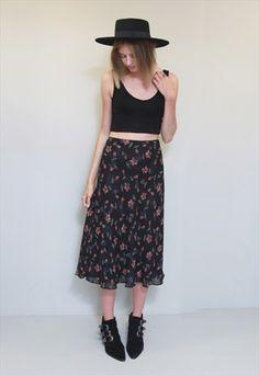 VINTAGE 1990'S FLORAL PRINT BLACK FLOATY MIDI SKIRT Thrift Haul, 1990s, Thrifting, Midi Skirt, Floral Prints, Bohemian, Skirts, Clothes, Vintage
