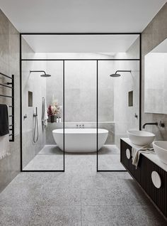 Large contemporary bathroom with wetroom. Black tapware.