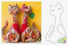 cats to sew stencils Doll Crafts, Cat Crafts, Diy And Crafts, Cat Fabric, Fabric Toys, Doll Clothes Patterns, Doll Patterns, Easy Sewing Projects, Sewing Crafts