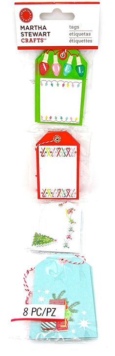 Martha Stewart Merry and Bright Tags,8pc.loops >>> Startling review available here  : Christmas Gifts