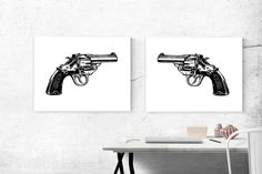 This super cool printable art poster duo features a couple of six shooter guns and would make a great gift for the man in your life! These gun prints are identical and can be flipped to be pointing towards each other or away. Would make a great addition to any room with a Western theme, too! Guns | Instant Download | Printable Art | Gun Print | 24x18 Poster Duo | Black & White | Firearm Poster | Man Cave Decor | Gifts for Him