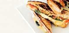 This cheese-centric Grilled Flagship, Tomato, and Basil Sandwich is an original staple from the Beecher's café in Seattle