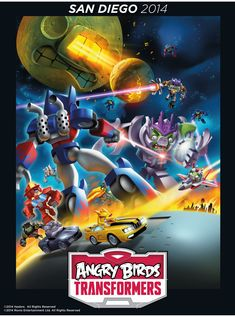 Angry Birds Transformers poster with silver knight Optimus Prime