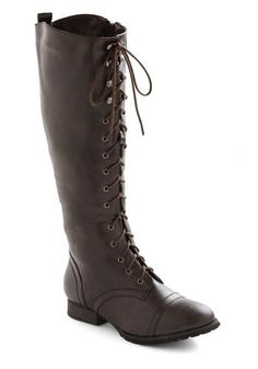 Crossing Borders Boot in Brown - Brown, Solid, Military, Lace Up, Low, Faux Leather, Winter