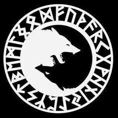 Wolf yin yang symbol with runes. A little bit different from the typical yin and yang, nice idea. Wolf Tattoos, Yin Yang Tattoos, Tatoos, Norse Tattoo, Viking Tattoos, Runas Futhark, Yin Yang Wolf, Symbole Viking, Two Wolves