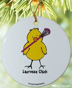 Are you a lacrosse chick? Then add this ornament to your Christmas tree!