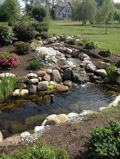 Magnificent Water Garden Landscaping and Backyard Ponds Ideas - Page 40 of 75 Backyard Stream, Backyard Water Feature, Ponds Backyard, Backyard Ideas, Concrete Backyard, Backyard Waterfalls, Pond Ideas, Pond Design, Landscape Design