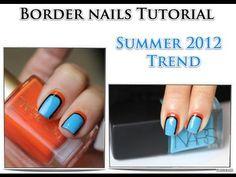 Easy Border Nails Tutorial Summer Trend 2012     ~Sun Meets Ocean~  (Kaute)