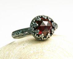 Sterling Silver Garnet Ring, Natural Gemstone, January Birthstone, Handmade Custom Jewelry, custom sized by TazziesCustomJewelry on Etsy https://www.etsy.com/listing/125745710/sterling-silver-garnet-ring-natural