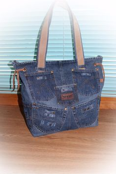 Denim bag of the minivan Irina Lukonina (ireland). Internet-shop Fair of Masters. Denim Tote Bags, Denim Purse, Blue Jean Purses, Paper Purse, Cool Vans, Handmade Handbags, Beautiful Bags, Purses And Bags, Crochet