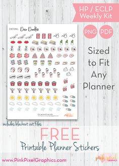 Download your free everyday deco doodles printable planner stickers for February. Free and Functional planner sticker printables. See more at www.pinkpixelgraphics.com