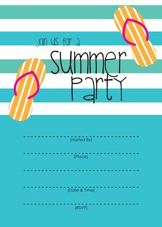 Pool Party - Free Printable Party Invitation Template | Greetings ...