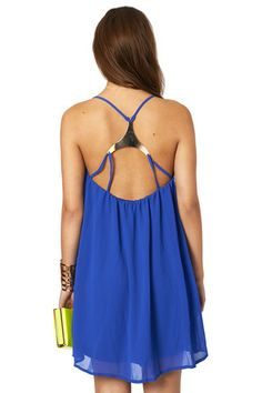 Don't Be a Square Royal Blue Gold Triangle Strappy Back Dress | Oh My Love