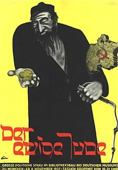 The poster for the 'Eternal Jews' exhibition, 1937. By the late 1930s, the fanatical tone of Nazi propaganda reflected the growing radicalisation of the regime's anti-Semitic policies. The Jewish stereotypes shown in such propaganda served to reinforce anxieties about modern developments in political and economic life, without bothering to question the reality of the Jewish role in German society. In November 1937 'The Eternal Jew' exhibition opened in Munich, and ran until 31 January 1938.