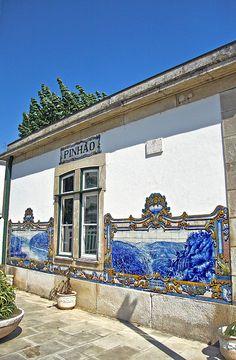 Small vilage Pinhão railways station beautiful portuguese #Azulejos (hand painted tile panel), vila real, #Portugal #art