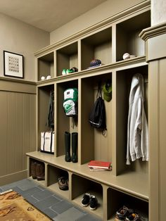 A friend of ours built lockers in their mud room very similar to this.  Their builder wanted a couple of thousand, he made them for about $150!!  I'm hoping my husband can do the same for our new entryway!