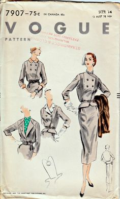 1950's Vintage Vogue Pattern  VOGUE 7907  1952 by ShellMakeYouFlip, $36.00