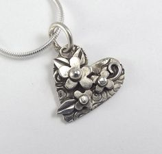 Heart and Flower Pendant Asymmetric by katherinefathisilver