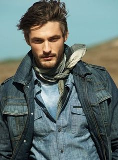 Shop this look for $90:  http://lookastic.com/men/looks/grey-scarf-and-light-blue-crew-neck-t-shirt-and-blue-denim-shirt-and-navy-denim-jacket/1805  — Grey Plaid Scarf  — Light Blue Crew-neck T-shirt  — Blue Denim Shirt  — Navy Denim Jacket